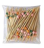 8around Brochetas cóctel grosor extra de bambú Cuentas de Colores,200 palillos para aperitivo 12cm,pincho cócteles decoración para chuches tapas fiesta brocheta de frutas canapés aperitivo sándwiches