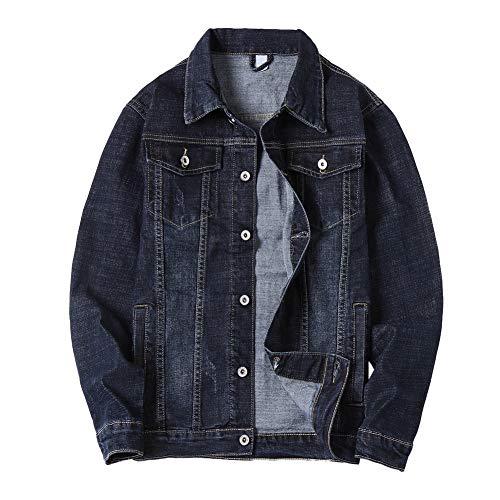 Allthemen Mens Denim Jacket Classic Washed Trucker Jacket Long Sleeve Casual Western Jacket #8807 Black Blue L