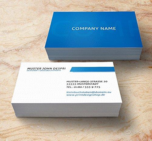 Visitenkarten - Online gestalten! Despri Design VK026, Blau, 250 Stück, glänzend