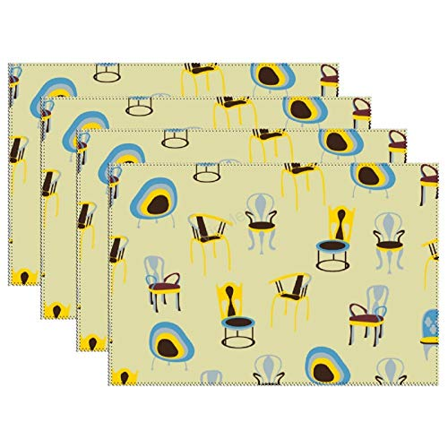 Heat-Resistant Table Placemats Set of 4 Chairs Washable Fabric Placemats for Dining Room Kitchen Table Mats 12x18 inch