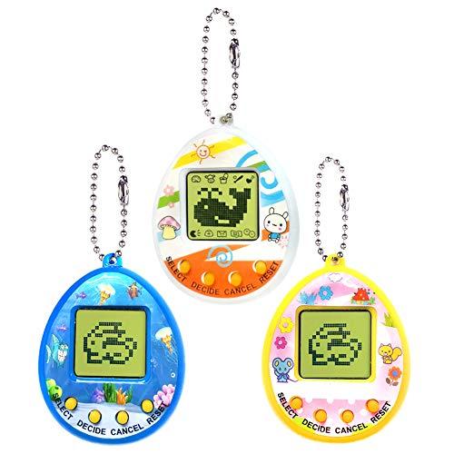 HahaGo 3PCS Virtual Cyber Pet Toy Animali Domestici digitali per Console di Gioco per Animali Domestici Mini Giocattoli elettronici tascabili per Animali con Portachiavi per Bambini(Colore Casuale)