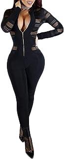 HODMEXI Women Long Sleeve Lace Bandage Jumpsuit Long Romper Zipper Mesh Bodysuit