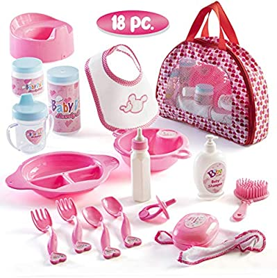 Prextex 18 Piece My First Baby Doll Accessories in Zippered Carrying Case - Doll Feeding Toys, Fashion and Bath Accessory Set for Babies and Toddlers by Prextex