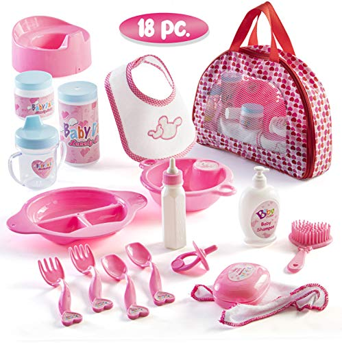 Prextex 18 Piece My First Baby Doll Accessory Set in Zippered Carrying Case - Doll Feeding Toys, Fashion and Bath Accessories for Babies and Toddlers