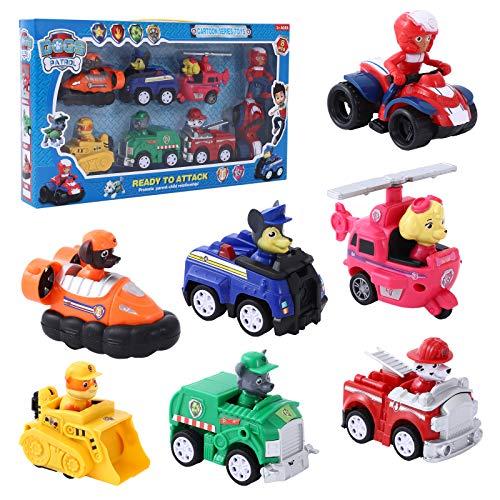 YNK Mini Cars, 8er Paw Patrol Auto Zurückziehen, Hundethema Auto Mini Autos Zurückziehen Pull Back Autos Mini Auto für Kinder, Geschenk für Kinder | Ab 3 Jahren (8Pcs)