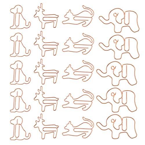 Kisangel Clips de Papel para Niños Clip de Papel en Forma de Animales Divertidos Clips de Papel Estucados Clips de Marcador Suministros de Oficina para La Organización de Documentos