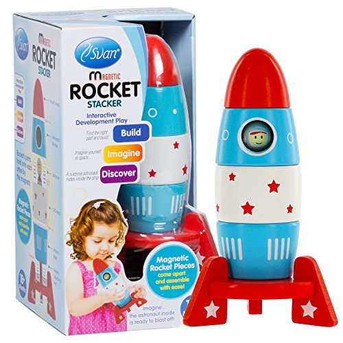 Wooden Stacker Toy Space Rocket - (6 Magnetic Stacking Pcs) Magnet Building Set with Surprise Astronaut Inside