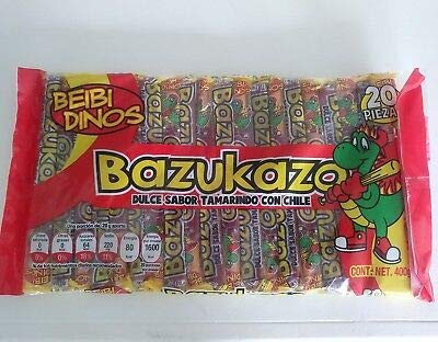 Beibi Dinos Tamarind Mexican Candy Sticks Individually Soft Wrapped Spicy & Salt Bazukazo 20 count in Pack .90 Lb.