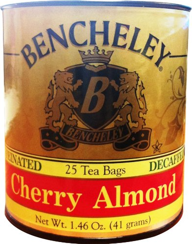 Bencheley Tea Bags Decaf, Cherry Almond, 25-Count (Pack of 6)
