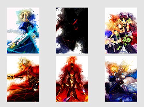 Wall Art Fate Stay Night Anime Characters Saber Rin Toosaka Archer Shirou Poster Prints Set of 6 Size A4 (21cm x 29cm) Unframed GREAT GIFT