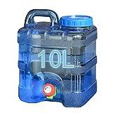 Azul 10L / 8L / 5L de agua espesada contenedor portátil al aire libre PC Square Cubo de coches con el grifo de auto-conducción tour Inicio tanque de agua portátil Conveniente para acampar al aire libr