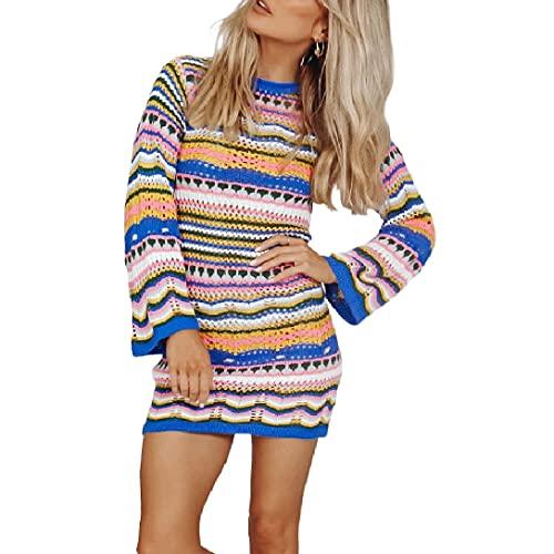 Beautmell Suéter de punto a rayas para mujer, casual, manga larga, ver a través de suéteres, rebordes, tops, azul, L