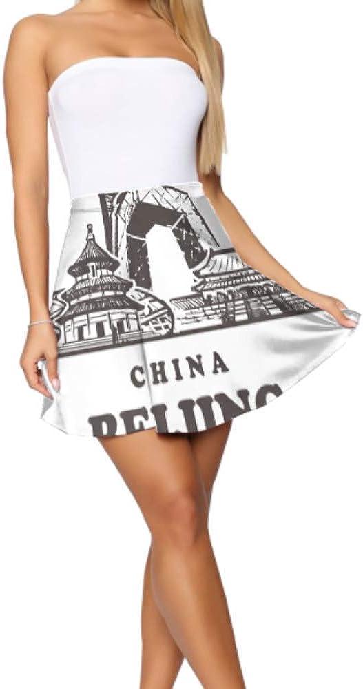 Teen Skater Skirt Beijing Sketch Skyline China Beijing Hand Flared Casual Mini Skater Skirt Women's Basic Casual Mini Skirt for Women S-XL