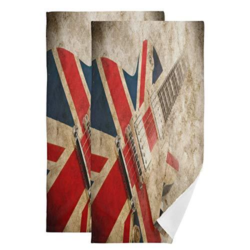 Mnsruu Toallas de baño retro de la bandera británica de secado rápido, altamente absorbentes, toalla súper suave para deportes, spa, viajes, hotel, yoga 36,5 x 72 cm (2 unidades)