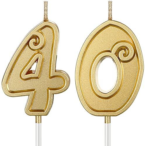 2 Candele per 40 Compleanno Candele per Torta di Compleanno con Numeri Candele per Cake Topper Dorate Decorazione per Torta con Numero di Design 3D per Decorazione della Celebrazione