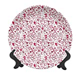 Valentines 10' Ceramic Decorative Plate,Sketch Drawing Style Hearts Red and Pink Love Pattern for Romantic Couples Dinner Plate Decor Accessory for Dining Table Tabletop Home Decor Ruby Pink White