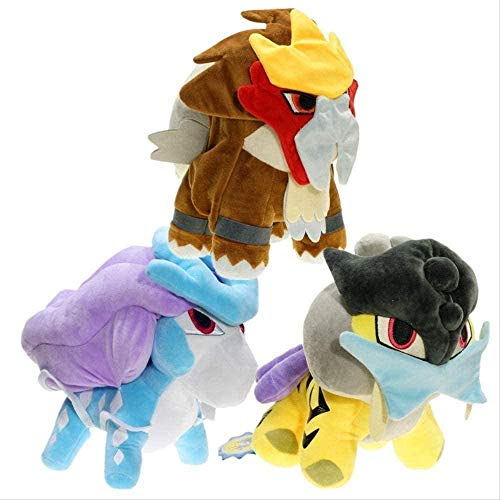 NC56 3 Pieces Cartoon Raikou Entei Suicune Plush Toys 20cm Anime Pokemones Stuffed Dolls Collections Gift for Boys
