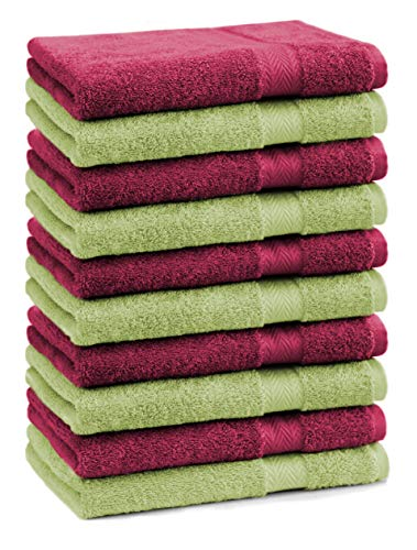 Betz Lot de 10 Serviettes débarbouillettes lavettes Taille 30x30 cm 100% Coton Premium Couleur Rouge foncé et Vert Pomme