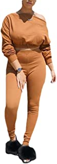 Womens 2 Pieces Off Shoulder Long Sleeve Sexy Crop Top+ Bodycon Jumpsuit Long Pant
