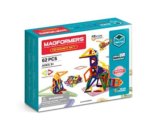 Magformers Designer Set (62-pieces) Magnetic Building Blocks, Educational Magnetic Tiles Kit , Magnetic Construction shapes STEM Toy Set