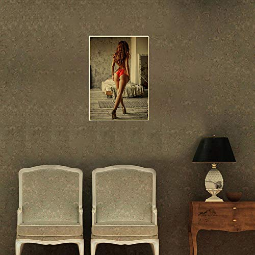 WKAQM Sexy Big Butt Poster Prints Sexy Bikini Women Canvas Wall Art Sexy Hot Girl Big Ass Wall Painting Bar Cafe Bedroom Picture Wall Art Decor Sin Marco Z-5425
