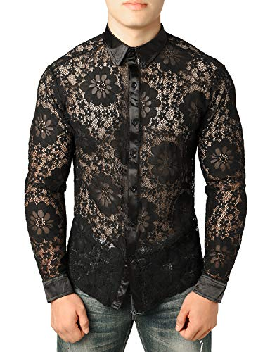 JOGAL Men's See Through Flower Lace Sheer Blouse Long Sleeve Button Down Shirts Deep Black X-Large