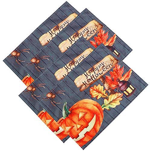 NTT Manteles Individuales niños,4 Uds, Mantel Individual para Halloween, práctico, Duradero, Aislado, Creativo, útil, patrón de Calabaza, Estera de Mesa, Estera de Mesa de Girasol para el hogar