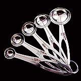 Cuchara medidora 5pcs del acero inoxidable de la taza de medición cocina cuchara dosificadora de la cucharada de bicarbonato de té café for Kichen Accesorios de medición (Color : 5 pcs)