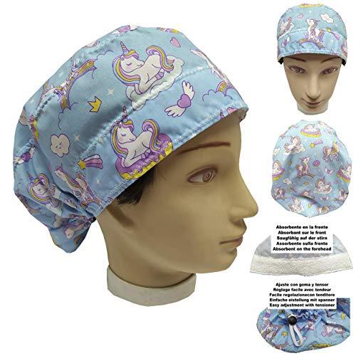 OP Haube UNICORNIES für Frauen, für lange Haare, Krankenpflege, Zahnarzt, Veterinär, Küche, Handtuch vorne, verstellbar im Rücken, passt alle Haare