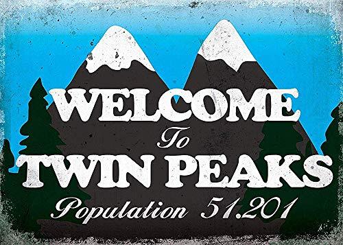 Welcome to Twin Peaks Affiche Étain Métal Mur Signe Vintage Plaque Rétro Attention Décorative Métallique Panneau pour Café Bar Chambre Hôtels Clubs Parc