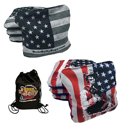 Beer Belly Bags Performance Cornhole Bags Tournament Regulation Resin Fill 16 Ounce - Set of 8 Includes Drawstring Carry Tote Made in USA (American Flag/Military)