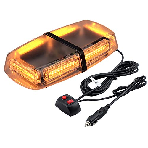54 LEDs Luz Estroboscopica Coche LED Emergencia Faro de Seguridad Super Brillo Base Magnetica 7 modos para 12 / 24V SUV Remolque