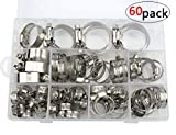 WMYCONGCONG 60 PCS Stainless Steel Worm Gear Hose Clamps Automotive Clamps Assortment Kit
