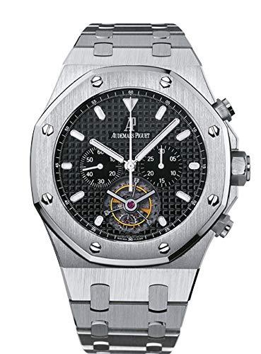Audemars Piguet Royal Oak Mens Black Dial Stainless Steel Chronograph Tourbillon Watch 25977ST.OO.1205ST.02