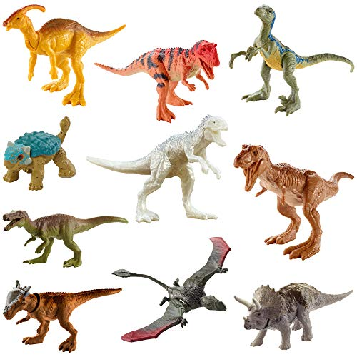 Jurassic World Camp Cretaceous Multipack with 10 Mini Dinosaur Action Figures, Realistic Sculpting & One Or More Movable Articulation Points Iconic to Its Species, 4 Years Old & Up