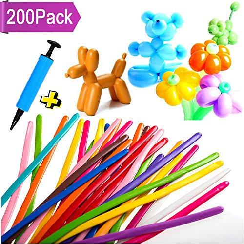 Paquete de 200 Globos 260g Largo de látex Moldeables de Color Variados Decoración de Fiesta Boda Cumpleaños Navidad Globo + Bomba (Color Aleatorio)