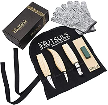 Hutsuls Wood Whittling Kit for Beginners - Razor Sharp Wood Carving Knife Set in Beautifully Designed Gift Box Whittling Knife for Kids and Adults  8 Pieces
