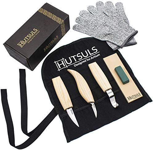 HUTSULS Wood Whittling Kit for Beginners - Razor Sharp Wood Carving Knife Set in Beautifully Designed Gift Box, Whittling Knife for Kids and Adults (8 Pieces)