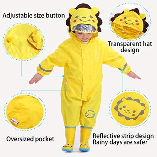 Kids One Piece Rainsuit, Waterproof Rain Coat Coverall with Hood for Kids Toddler, Reflective 3D Cartoon Waterproof Jumpsuit, Outdoors Rain Suit(1-7 Years) Yellow