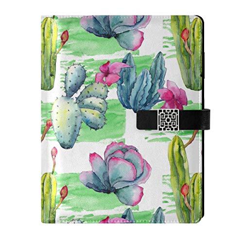Cuaderno de piel para escribir diarios, cuaderno de notas de viaje, cactus de flores silvestres, rellenable, tamaño A5, con anillas, cuaderno de tapa dura, regalo para mujeres y hombres