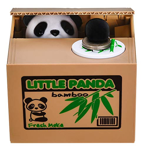 Panda Stealing Money Bank, Piggy Bank for Kids, Coin Bank for Money Saving, Automatic Stealing Money...