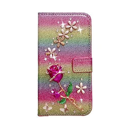 Funda para Samsung Galaxy S20 Ultra hecha a mano con gemas de cristal con purpurina, diseño floral, a prueba de golpes, de piel sintética, cierre magnético, tapa protectora para Samsung S20 Ultra