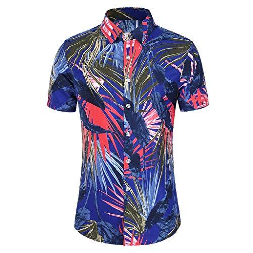 Hombre Camisas Hawaianas Funky de Manga Corta Bolsillo Delantero Mode Impreso Playa Camisa Casual Vacaciones de Verano Camisetas Informal de Hawaii