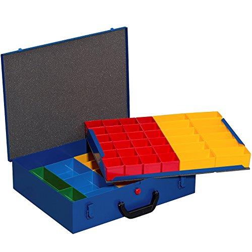 Allit - Valigetta in metallo con 59 scomparti bassi rimovibili in 4 misure diverse, colore: Blu