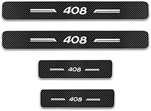 Anti-Kratz-Platte für Autoschwelle für Passend für 4 Stück Externes Carbon-Faser-Leder-Auto Kick-Platten Pedal for Peugeot 408 Einstieg Willkommen Pedal-Tritt Scuff Threshold Bar Schutz A.