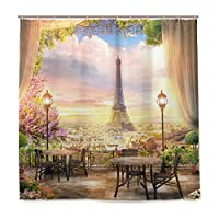 MISCERY シャワーカーテン、パリの美しい景色バルコニーカフェ、防水 バスカーテン 浴室 脱衣所 洗面所 間仕切り プライバシー保護 取付簡単 180x180CM さまざまなパターン
