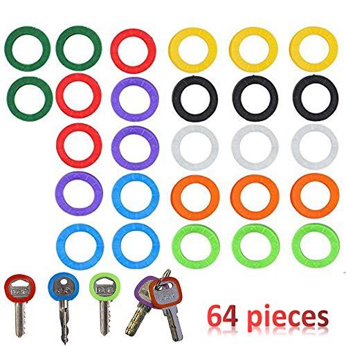Nuluxi Colorate per Copertine Chiave Chiave Anello Colori Della Copertura Etichette per Tappi Chiave PVC Buona Duttilità e Elasticizzati per Adattarsi Più Teste Chiave Standard-22mmx4mm(64 Pezzi)