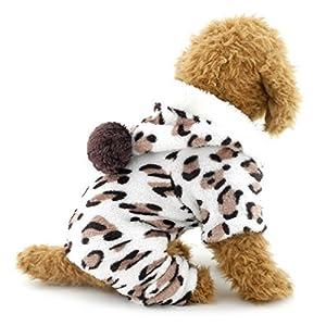 Ranphy Petit Chien Chat Chiot Flanelle Pyjama Léopard tenues pour animal domestique Salopette doux Vêtements en velours Chien PJ Sweat à capuche Four-leg JumpSuit