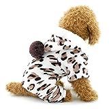 Ranphy Pijamas de Franela para Perro Pequeño Leopardo Trajes de Terciopelo Suave Pijamas Chihuahua Sudadera con Capucha de Cuatro Piernas Mono de Invierno Yorkie Ropa M