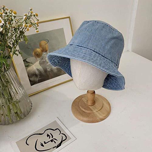 liqun Vintage Sombrero De Cubo De Mezclilla Lavada Plegable Unisex Gorras De Pescador Jean Bob Cap Hip Hop Streetwear Mujeres Sombreros De Protección Solar, Azul Claro, Talla Única